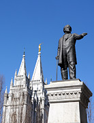 Angel Moroni Prints - Historic Salt Lake Mormon LDS Temple and Brigham Young Print by Gary Whitton