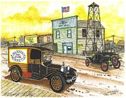 Ford Model T Car Drawings Posters - Historic Shaniko Oregon Poster by Bill Friday