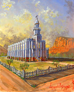 Blue  Yellow Paintings - Historic St. George Temple by Jeff Brimley