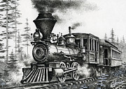 Pen And Ink Drawings Metal Prints - Historic Steam Metal Print by James Williamson