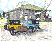 Antique Automobiles Drawings Posters - Historic Train Depot at Bend OR Poster by Bill Friday
