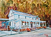 Pa Pastels Framed Prints - Historic Valley Green Inn Framed Print by Joyce A Guariglia