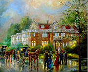 Lit Painting Originals - Historical architecture Indiana Baker house mansion  by Gina Femrite