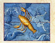 Lobster Sign Posters - Historical Artwork Of The Constellation Of Cancer Poster by Detlev Van Ravenswaay