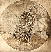 Cartography Photos - Historical City Map Of Imola, Italy by Sheila Terry