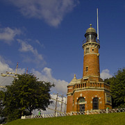 Shipping Posters - Historical Lighthouse at Kiel Canal Entrance Poster by Heiko Koehrer-Wagner