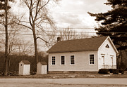 Outhouse Print Photos - Historical Schoolhouse by Kim Galluzzo Wozniak