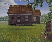 Egg Tempera Paintings - Historical Warrenton Farm House by Peter Muzyka