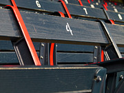 Red Photographs Metal Prints - Historical Wood Seating at Boston Fenway Park Metal Print by Juergen Roth