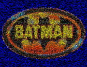 Bat Mixed Media Posters - History Of Batman Mosaic Poster by Paul Van Scott