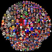 Old Video Game Prints - History of Mario Mosaic Print by Paul Van Scott