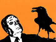 Horror Drawings Posters - Hitchcock and Raven on Orange Poster by Jera Sky