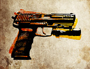 Weapon Metal Prints - HK 45 Pistol Metal Print by Michael Tompsett