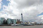 Shard Prints - Hms Belfast And Shard Print by Richard Newstead