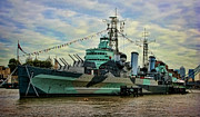 Historic Ship Posters - HMS Belfast Poster by Heather Applegate