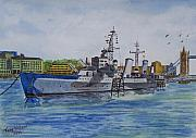 Cruiser Painting Metal Prints - HMS Belfast River Thames London Metal Print by Tony Williams