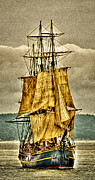 Tall Ships Digital Art Framed Prints - HMS Bounty Framed Print by David Patterson