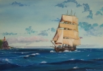 Tall Ships Prints - HMS Bounty on Lake Superior Print by Werner Pipkorn