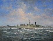 Helicopters Paintings - H.M.S. Chatham Type 22 - Batch 3 by Richard Willis