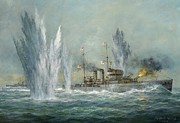 Mines Prints - HMS Exeter engaging in the Graf Spree at the Battle of the River Plate Print by Richard Willis