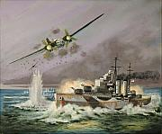 Royal Navy Paintings - HMS Ulysses Attacked By Heinkel IIIs Off North Cape by Glenn Secrest