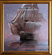 Maritime Art Paintings - HMS Victory 1765 by Rich Holden