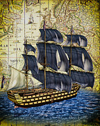 Ship Mixed Media Posters - HMS Victory Poster by Bob Orsillo