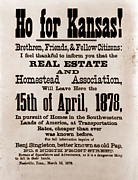 Bound Posters - Ho For Kansas A Broadside By Benjamin Poster by Everett