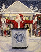 Police Christmas Card Paintings - Ho Ho Go... by Jack Skinner