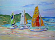 Cuba Pastels Framed Prints - Hobie Cat Plein Air Framed Print by Rae  Smith PSC