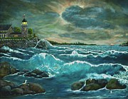 Storm Prints Mixed Media Metal Prints - Hobsons Lighthouse Metal Print by Ave Hurley