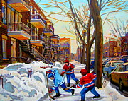 Verdun Street Scenes Prints - Hockey Art - Paintings Of Verdun- Montreal Street Scenes In Winter Print by Carole Spandau