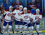 Hockey Stars Paintings - Hockey Art At Bell Center Montreal by Carole Spandau