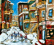 Store Fronts Posters - Hockey Art In Montreal Poster by Carole Spandau