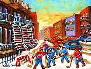 Kids Sports Art Posters - Hockey Art Kids Playing Street Hockey Montreal City Scene Poster by Carole Spandau