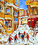 Hockey Painting Posters - Hockey Art Montreal City Streets Boys Playing Hockey Poster by Carole Spandau