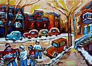 Kids Playing Hockey Paintings - Hockey Art Montreal Staircases In Winter by Carole Spandau