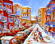 Winter Fun Paintings - Hockey Art Streets Of Montreal Hockey Paintings by Carole Spandau