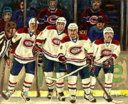 Montreal Canadiens Framed Prints - Hockey Art The Habs Fab Four Framed Print by Carole Spandau
