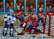 Kids Playing Hockey Paintings - Hockey Art Vintage Game Montreal Forum by Carole Spandau