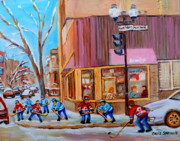Montreal Landmarks Paintings - Hockey At Beautys Deli by Carole Spandau