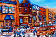 Montreal Winter Scenes Prints - Hockey At Fairmount Bagel Print by Carole Spandau