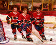 Hockey Sweaters Painting Posters - Hockey At The Forum Poster by Carole Spandau