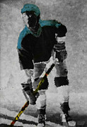 Hockey Mixed Media Prints - Hockey Dude Print by Kenneth Drylie
