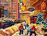 Kids Playing Hockey Paintings - Hockey Fever Hits Montreal Bigtime by Carole Spandau