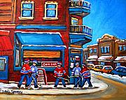 Carole Spandau Hockey Art Painting Prints - Hockey Game at Wilenskys Print by Carole Spandau