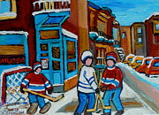Montreal Urban Landscapes Prints - Hockey Game Corner Clark And Fairmount Wilenskys Paintings Print by Carole Spandau