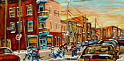 Montreal Diner Paintings - Hockey Game Fairmount And Clark Wilenskys Diner by Carole Spandau