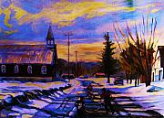 Montreal Restaurants Paintings - Hockey Game In The Village by Carole Spandau
