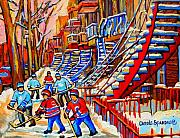 Classical Montreal Scenes Framed Prints - Hockey Game Near The Red Staircase Framed Print by Carole Spandau